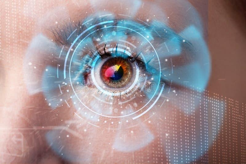 Mulher com conceito do painel do olho da tecnologia do cyber ilustração do vetor