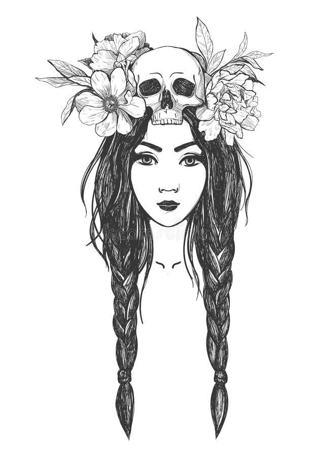 Mulher com crânio, flores Tatuagem Art ilustração do vetor