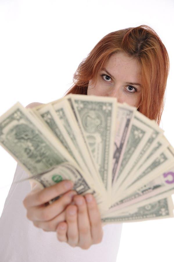 Mulher com dólares fotografia de stock royalty free
