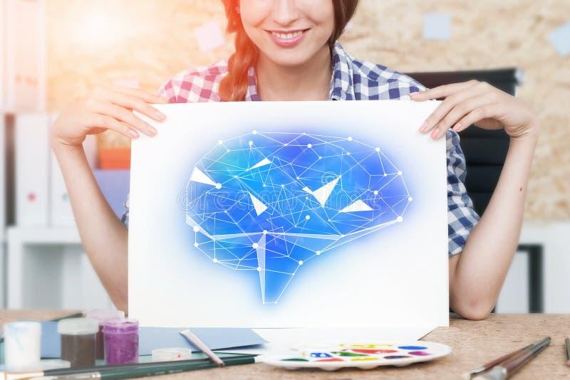 Mulher com desenho do cérebro foto de stock royalty free