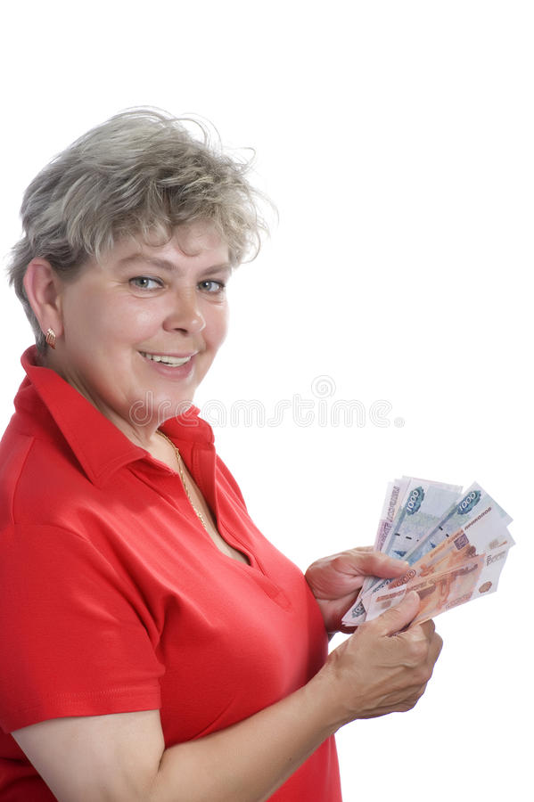 Mulher com dinheiro fotografia de stock