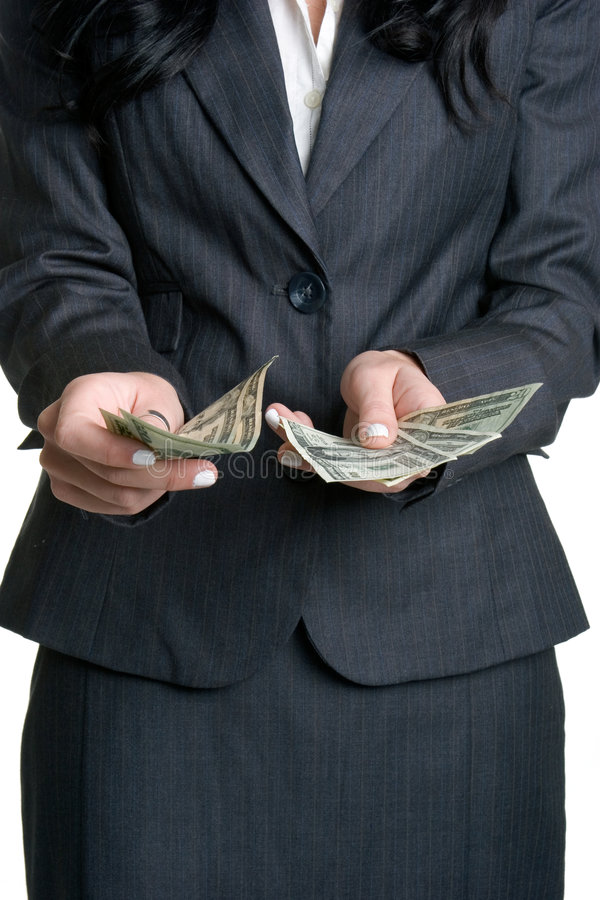 Mulher com dinheiro imagens de stock