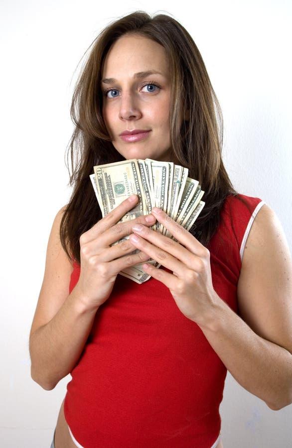 Mulher com dinheiro foto de stock