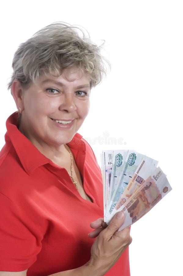 Mulher com dinheiro no branco imagens de stock