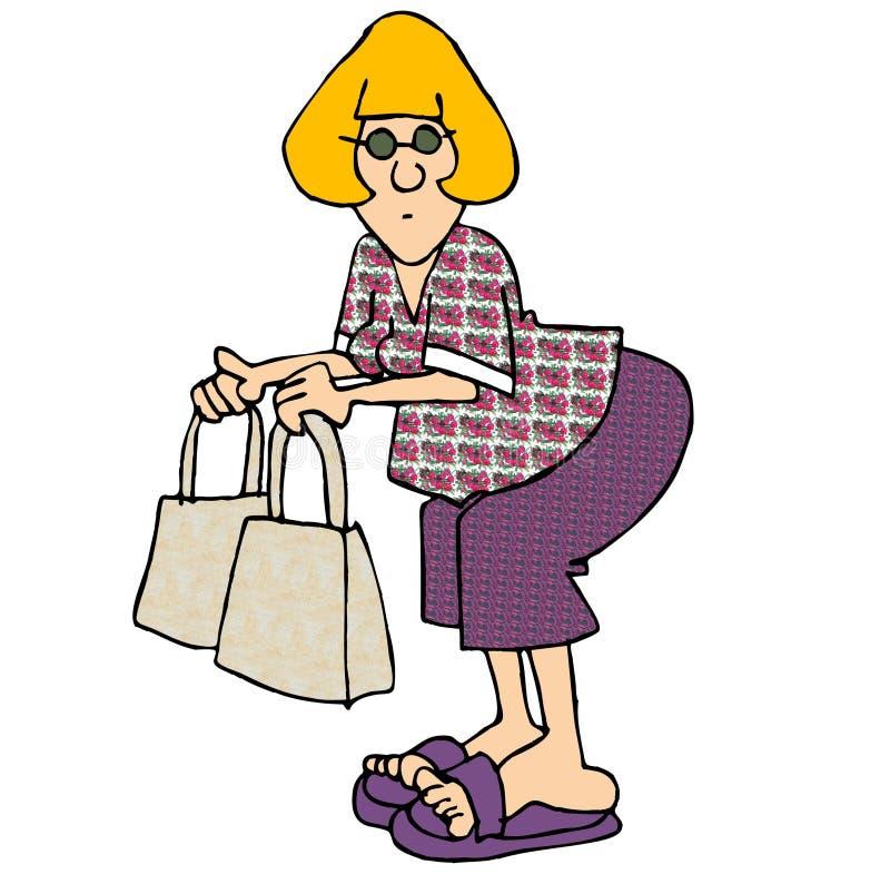 Mulher com dois sacos ilustração do vetor