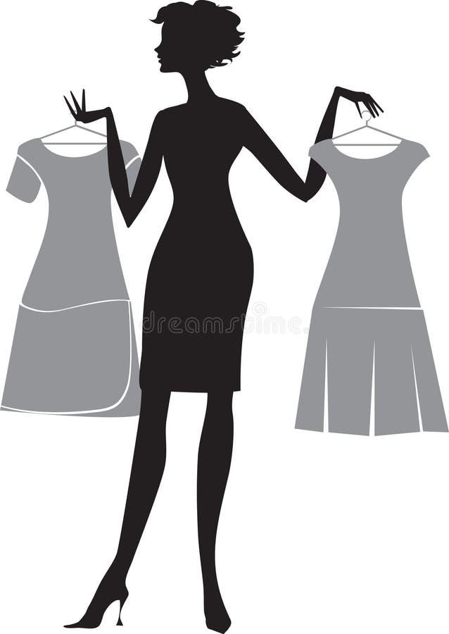 Mulher com dois vestidos ilustração stock