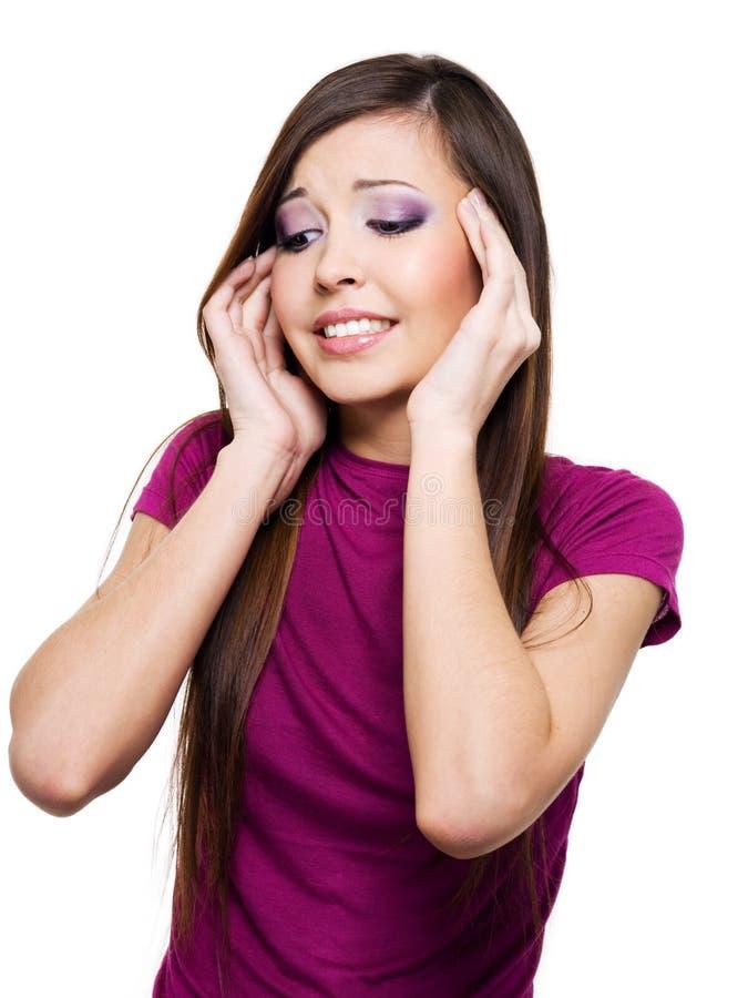 Mulher com dor de cabeça forte foto de stock royalty free