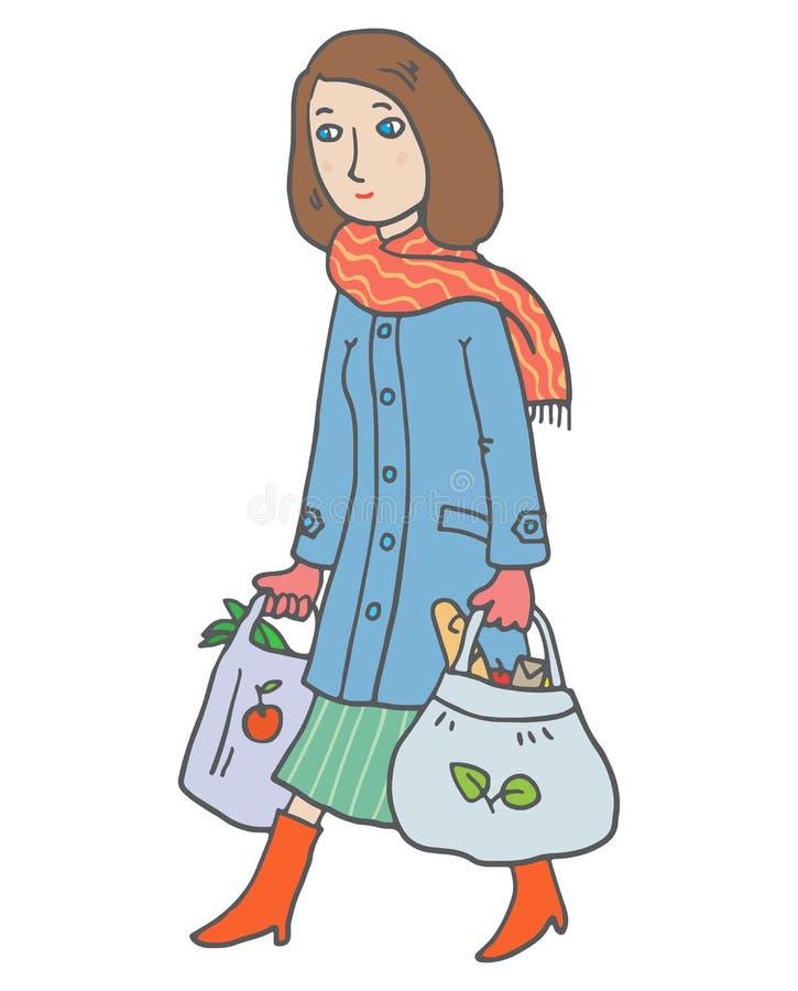 A mulher com eco-sacos sai do mercado ilustração do vetor
