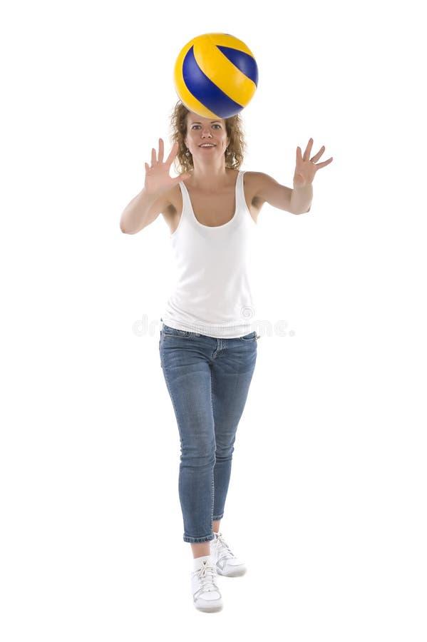 Mulher com a esfera no branco imagem de stock