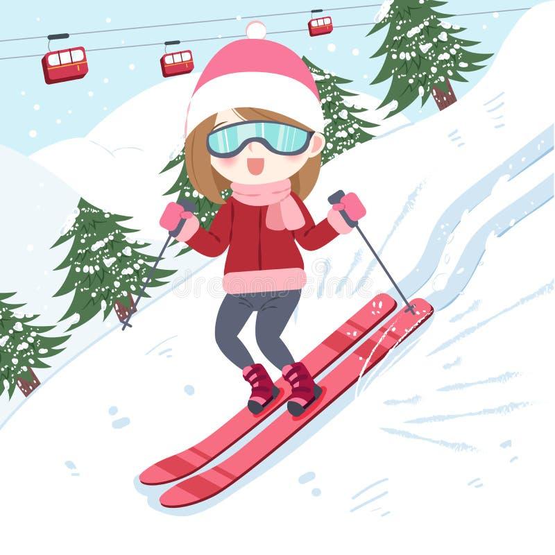 Mulher com esqui ilustração royalty free
