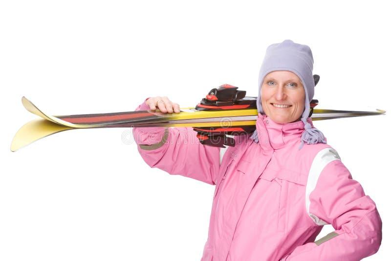 Mulher com esqui imagens de stock royalty free