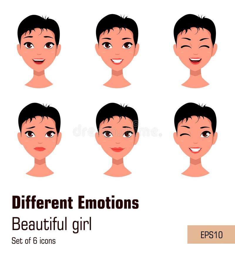 Mulher com expressões diferentes da cara Menina atrativa nova com várias emoções, ilustração stock