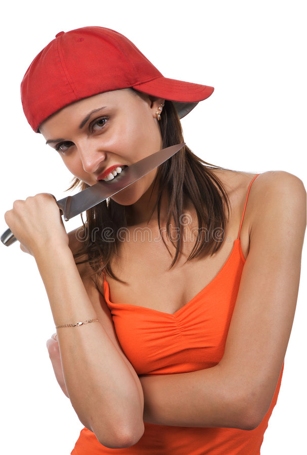 Mulher com faca. imagens de stock