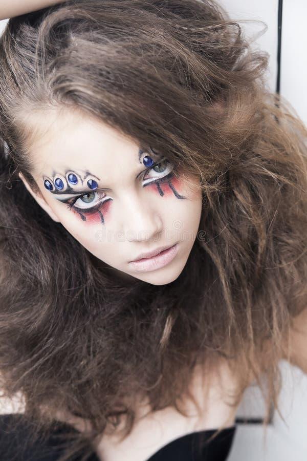 Mulher com face-arte creativa - fantasia do carnaval foto de stock royalty free