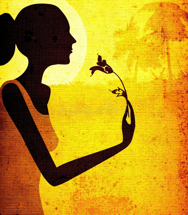 Mulher com flor ilustração stock