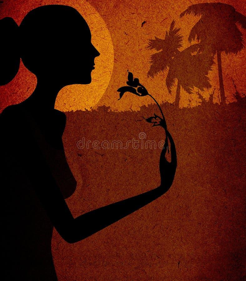 Mulher com flor ilustração do vetor