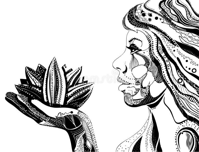 Mulher com flor de lótus, teste padrão ornamentado preto ilustração stock