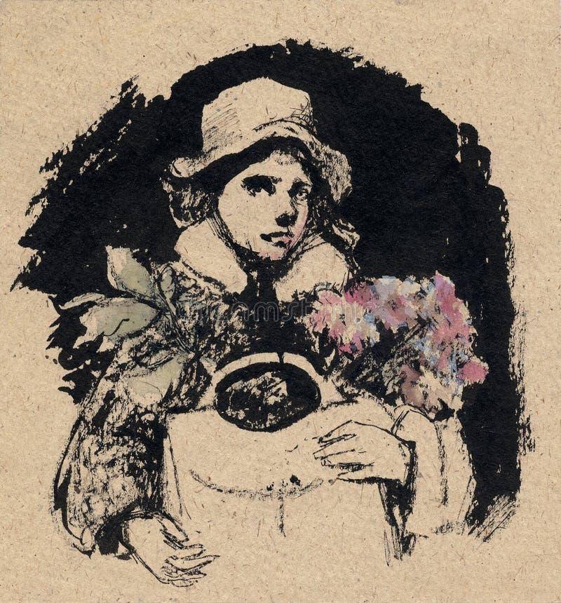 Download Mulher com flores ilustração stock. Ilustração de arte - 10050639