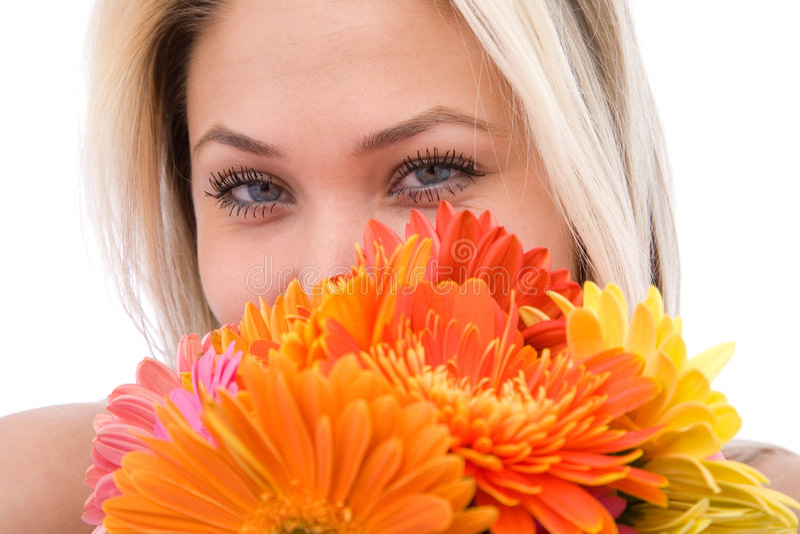 Mulher com flores fotos de stock royalty free
