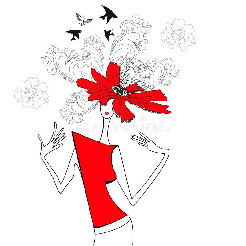 Mulher com flores vermelhas ilustração do vetor