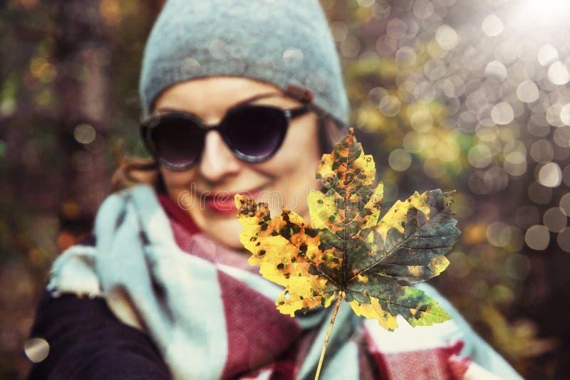 Mulher com a folha de bordo colorida na natureza do outono, folhas de prova do sol foto de stock