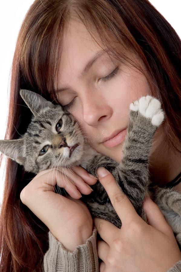 Mulher com gato imagens de stock royalty free