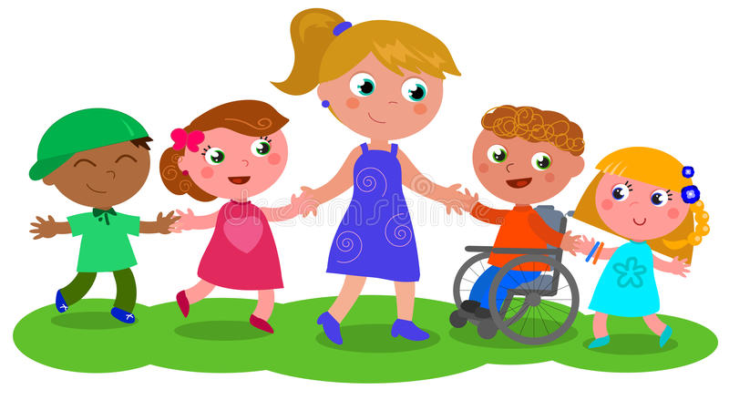 Mulher com grupo de vetor das crianças ilustração royalty free
