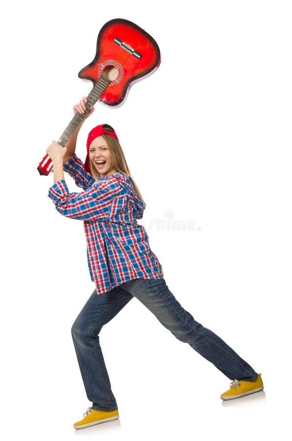 mulher com guitarra imagem de stock royalty free