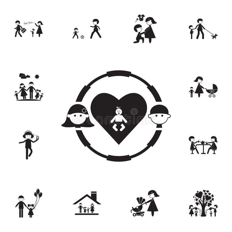 mulher com homem em um ícone da criança do círculo Grupo detalhado de ícones da família Sinal superior do projeto gráfico da qual ilustração stock