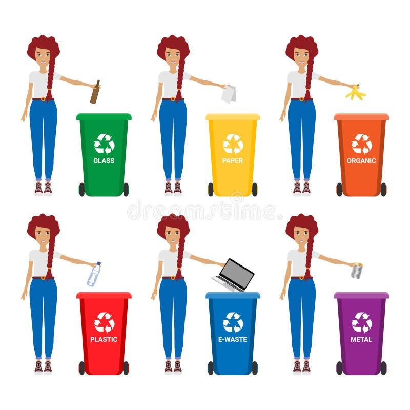 Mulher com ilustração do lixo Mantenha limpo e lixo que classificam o conceito ilustração royalty free