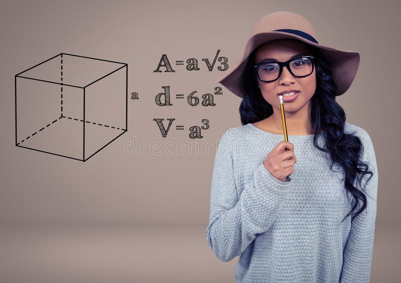 Mulher com lápis e os desenhos gráficos da geometria das equações ilustração royalty free