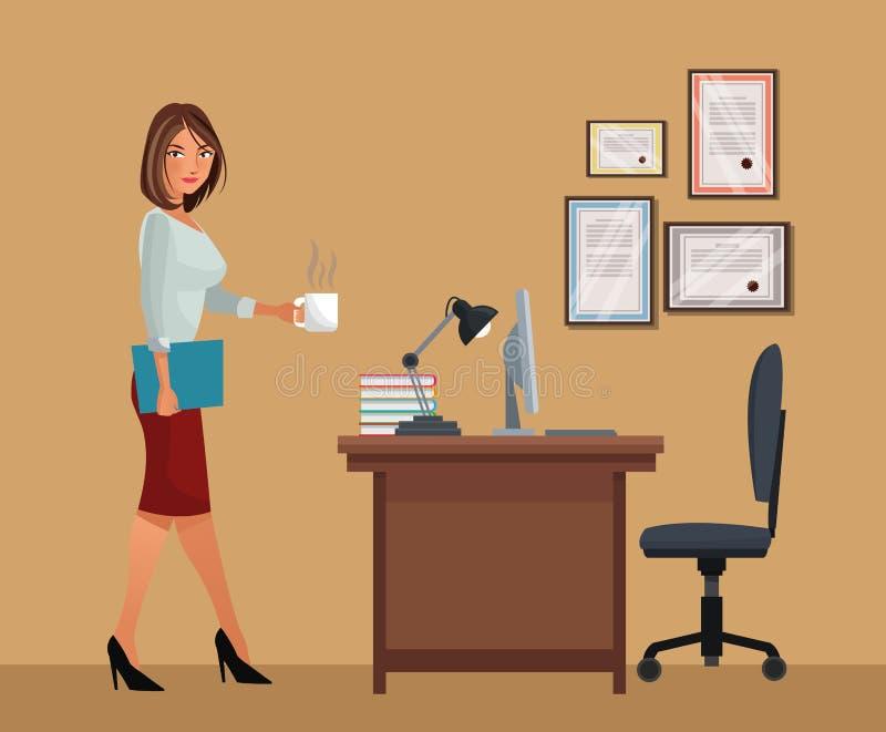 Mulher com a lâmpada do portátil da cadeira de mesa do escritório do café do copo ilustração royalty free