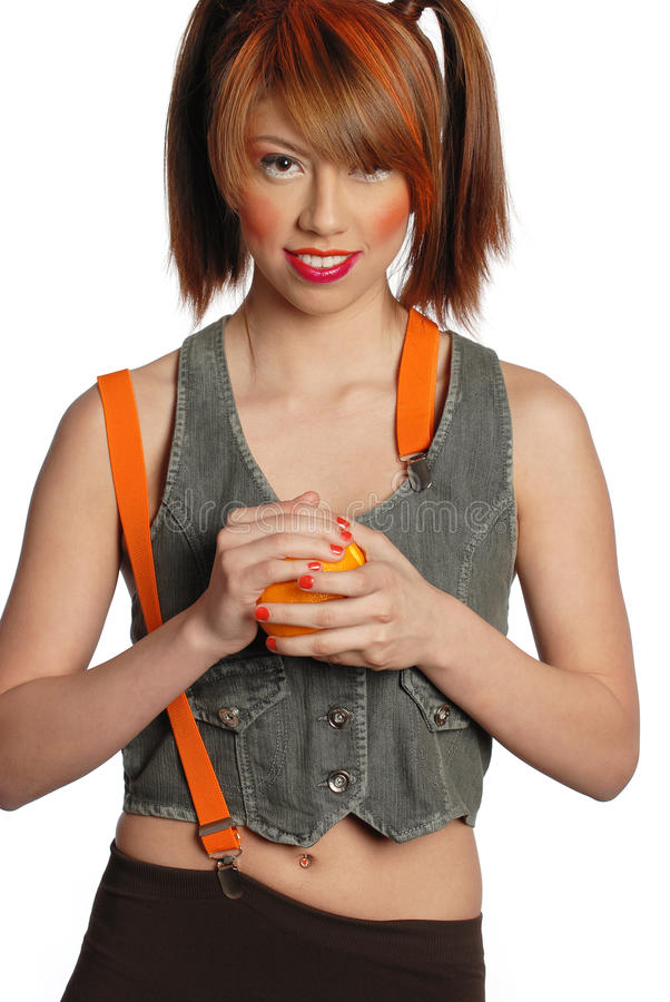 Mulher com laranja foto de stock royalty free