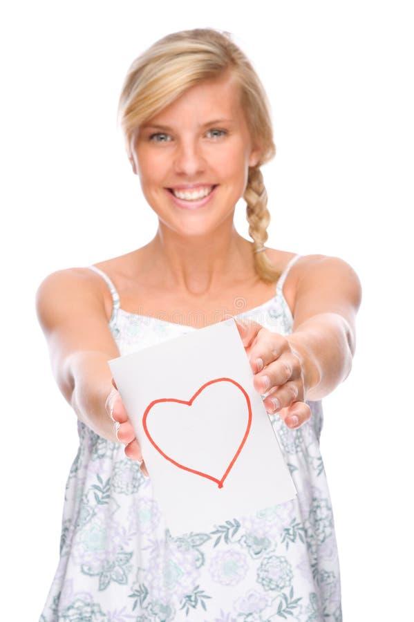 Mulher com letra de amor imagem de stock royalty free