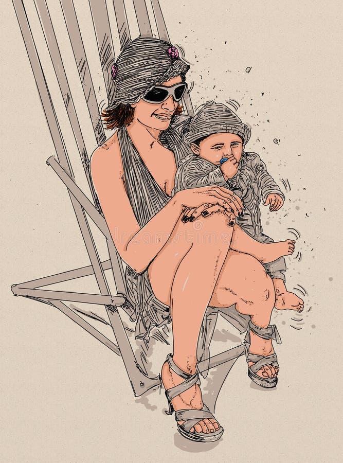 mulher com a linha da criança, refinado e a sensual projetada para locais eróticos, tais como Chiat e loja, clube privado, clube  ilustração stock