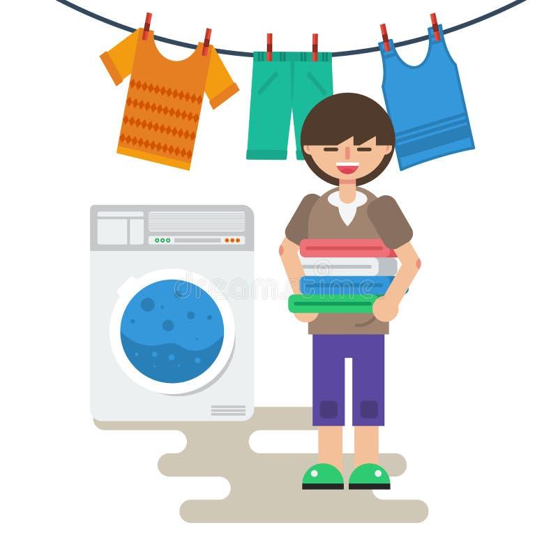 Mulher com linho lavado ilustração stock