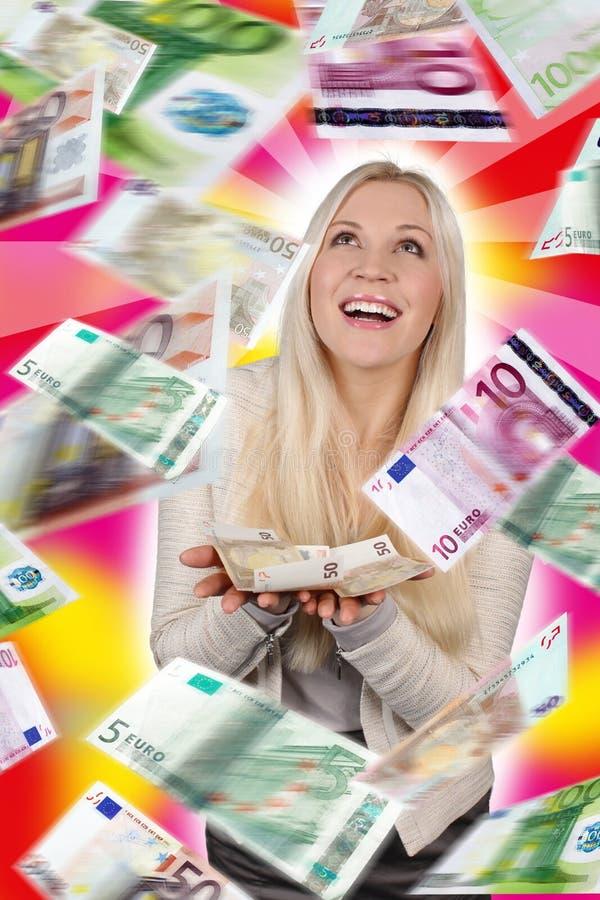 Mulher com lotes das cédulas imagens de stock royalty free