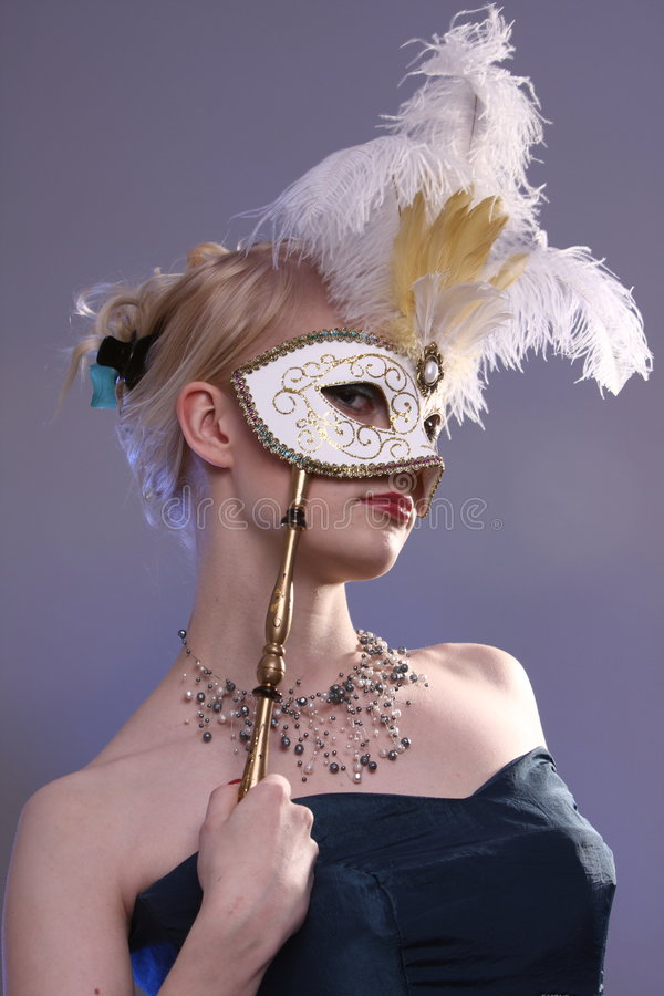 Mulher com máscara foto de stock