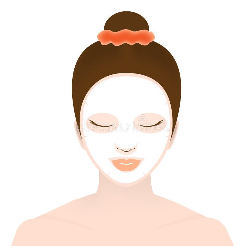 Mulher com máscara facial ilustração stock