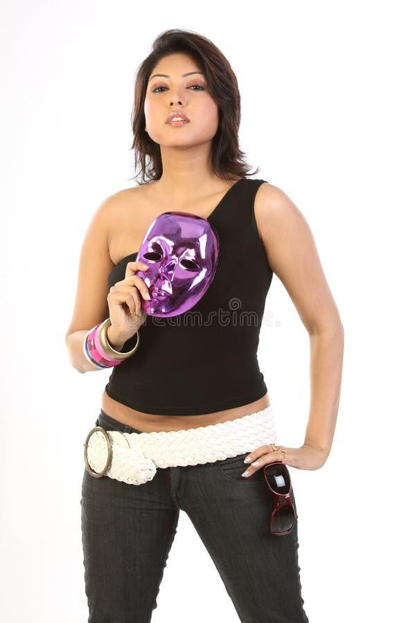 Mulher com máscara protectora fotografia de stock royalty free