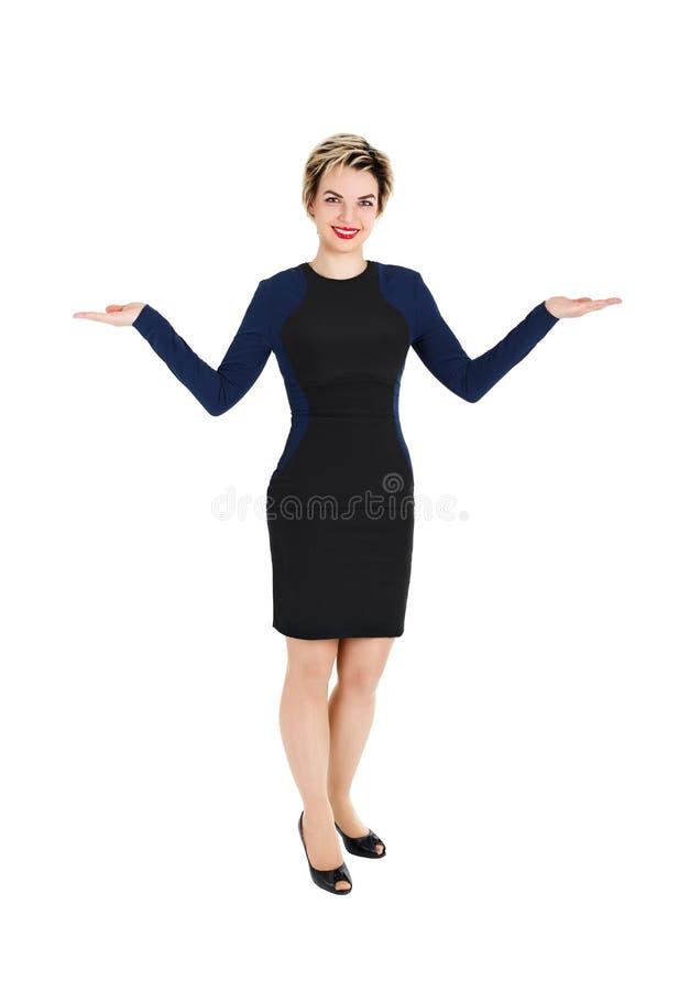 Mulher com mãos abertas fotos de stock