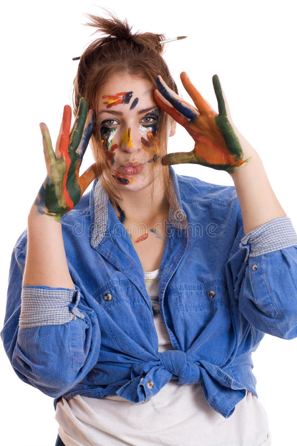 Mulher com mãos manchadas pintura fotografia de stock