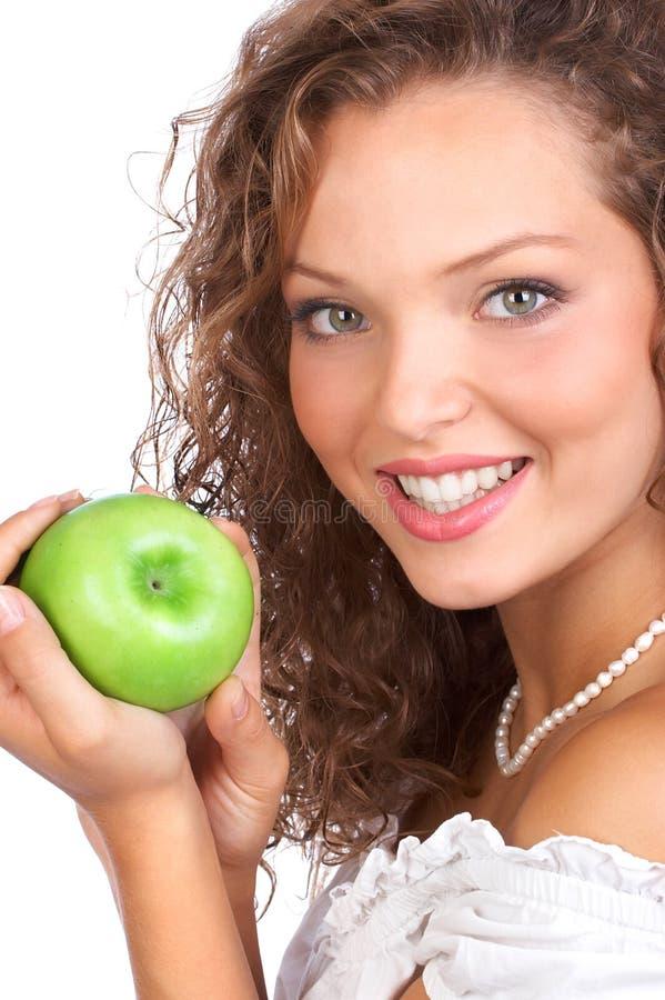 Mulher com maçã imagem de stock royalty free