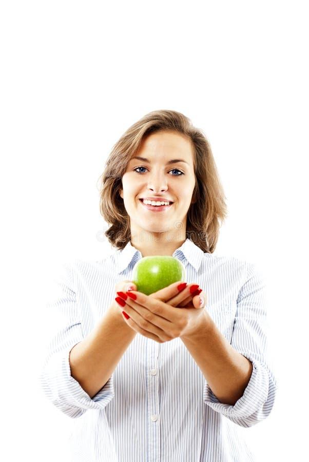 Mulher com maçãs foto de stock royalty free