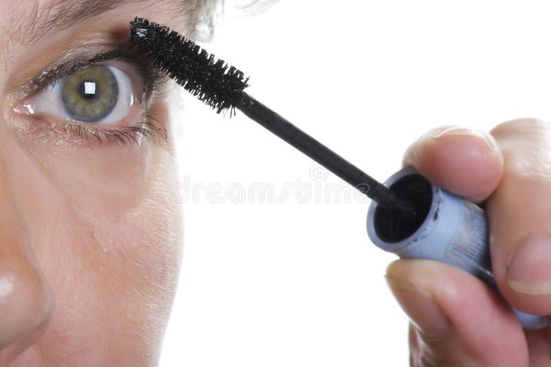 Mulher com macro do mascara fotos de stock