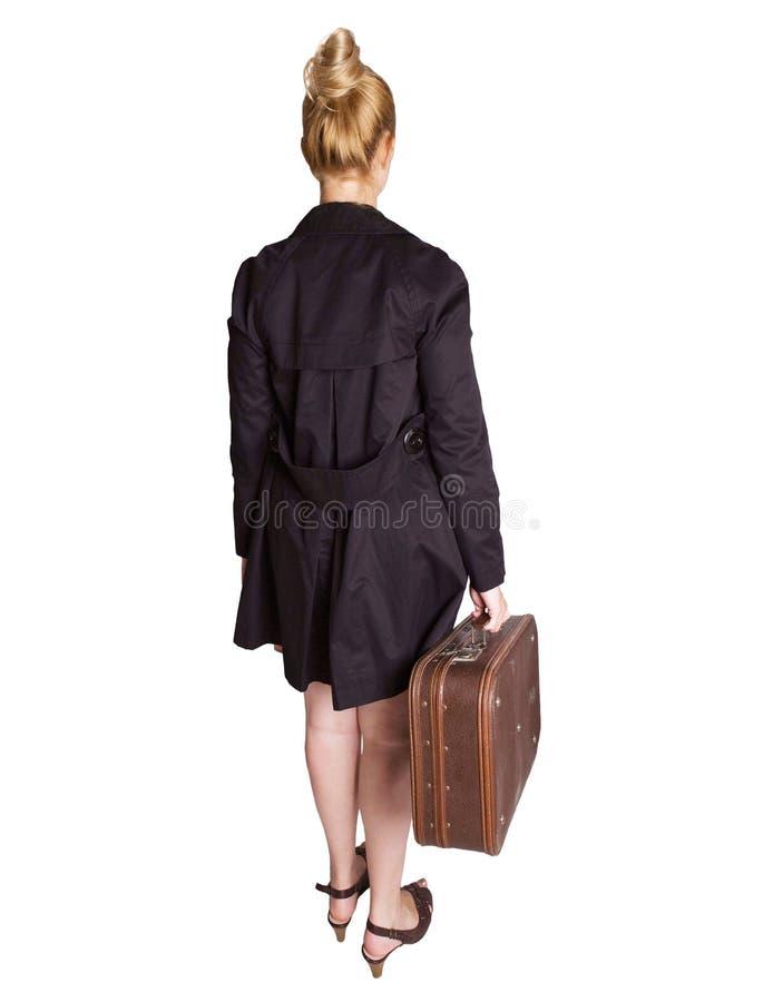 Mulher com mala de viagem do vintage foto de stock