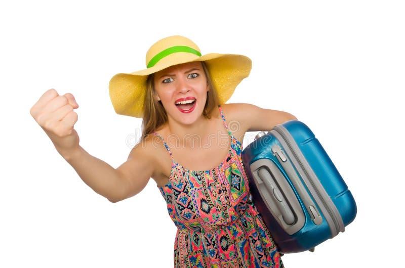 A mulher com a mala de viagem isolada no branco imagens de stock