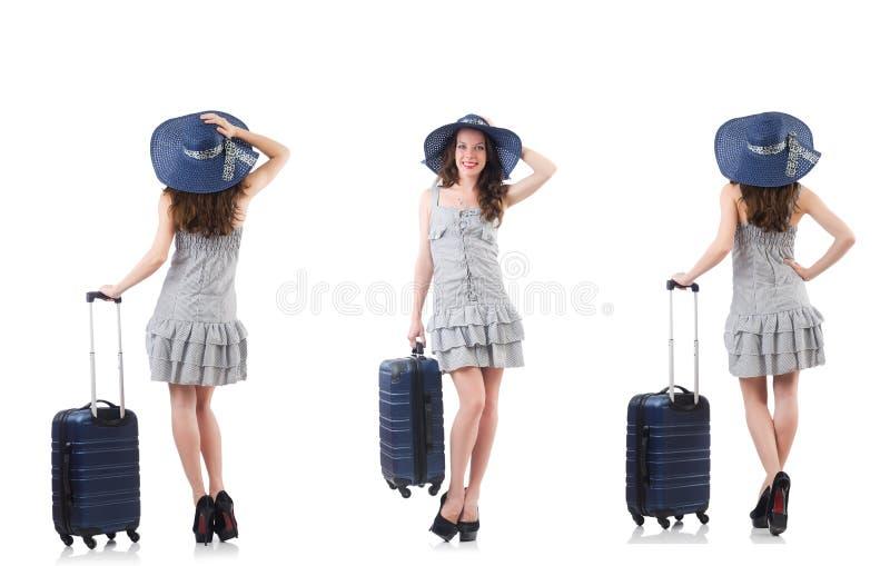 Mulher com a mala de viagem no branco imagens de stock royalty free