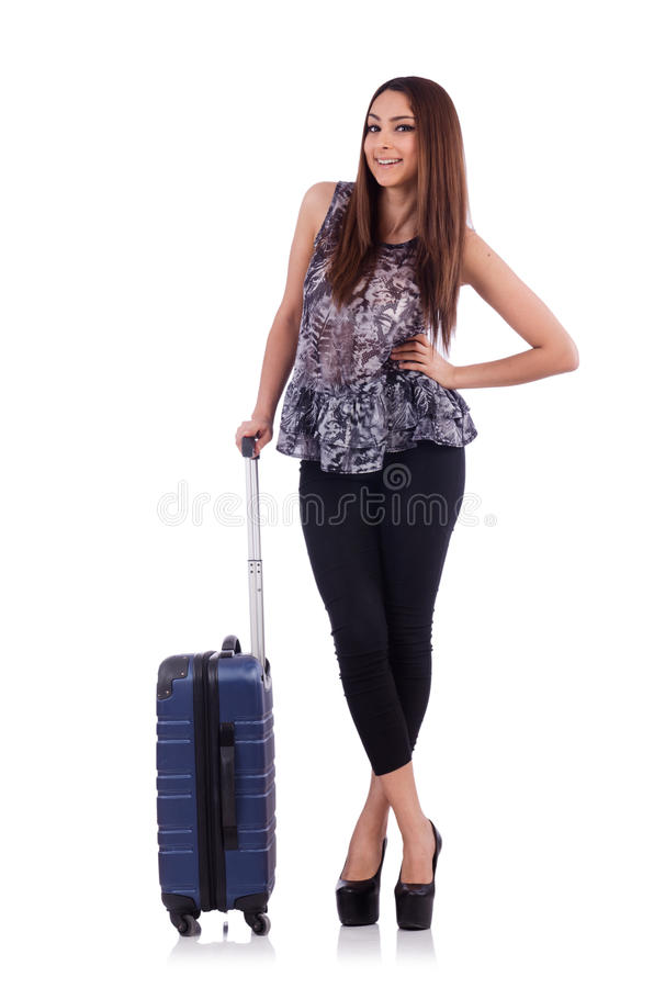 Mulher com a mala de viagem no conceito do curso isolada fotos de stock royalty free