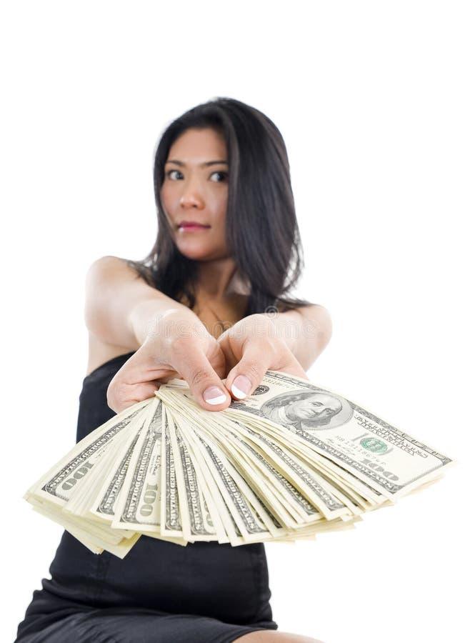 Mulher com muito dinheiro fotografia de stock royalty free